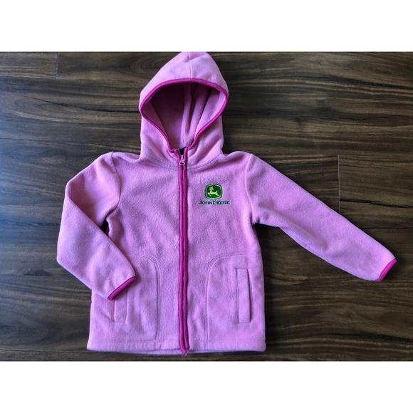 12M-14//16 Pink Infant//Toddler//Youth Girls John Deere Microfleece Hooded Jacket